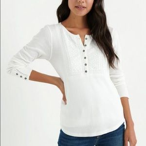 Lucky brand Women novelty bib thermal t-Shirt